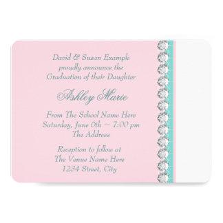 Teal Blue Pink Princess Graduation Announcements