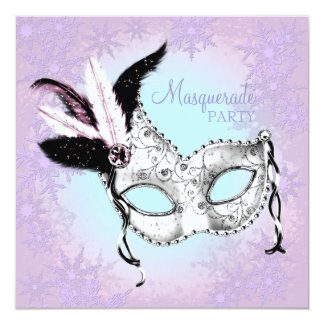 Teal Blue Pink Purple Snowflake Masquerade Party Card