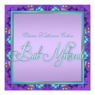 Teal Blue Purple Bat Mitzvah Invitations