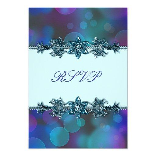 Teal Blue Purple Bubbles Quinceanera RSVP Announcements