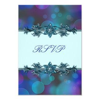 "Teal Blue Purple Bubbles Quinceanera RSVP 3.5"" X 5"" Invitation Card"