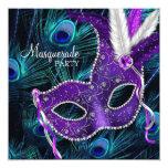 Teal Blue Purple Peacock Masquerade Party 13 Cm X 13 Cm Square Invitation Card
