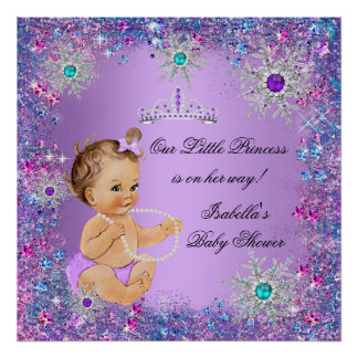 Teal Blue Purple Pink Princess Baby Shower Brown Poster