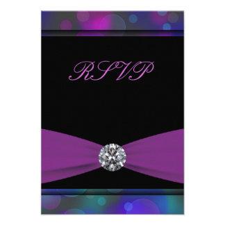 Teal Blue Purple Quinceanera RSVP Custom Invites