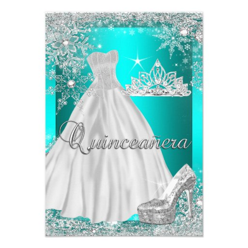 Teal Blue Quinceanera 15th Birthday Party Custom Invite