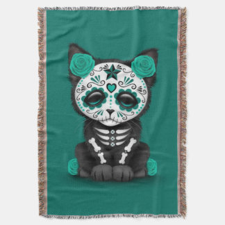 Teal Blue Red Day of the Dead Kitten Cat