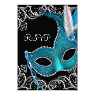 Teal Blue Silver Mask Masquerade Party RSVP Card