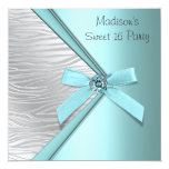 Teal Blue Silver Zebra Sweet 16 Party Personalised Announcement