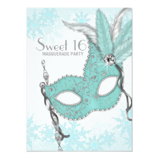 Teal Blue Snowflake Sweet 16 Masquerade Party 14 Cm X 19 Cm Invitation Card