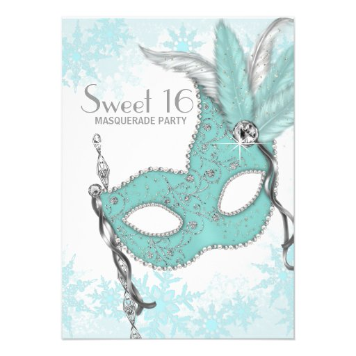 Teal Blue Snowflake Sweet 16 Masquerade Party Personalized Invite