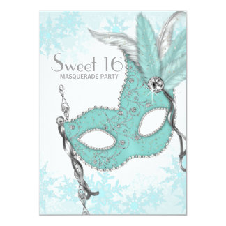 Teal Blue Snowflake Sweet 16 Masquerade Party 4.5x6.25 Paper Invitation Card