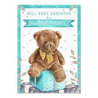 Teal Blue Teddy Bear Gender Reveal Invitations