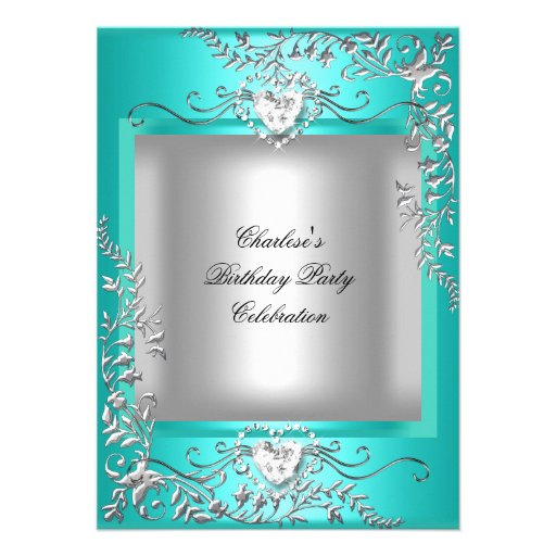 Teal Blue Turquoise Silver Birthday Party Personalized Announcement