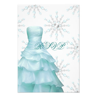 Teal Blue Winter Snowflakes Quinceanera RSVP Invite