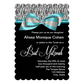 Teal Blue Zebra Bat Mitzvah Card