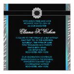 Teal Blue Zebra Bat Mitzvah 13 Cm X 13 Cm Square Invitation Card