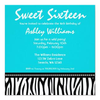 Teal Blue Zebra Sweet 16 Invitations