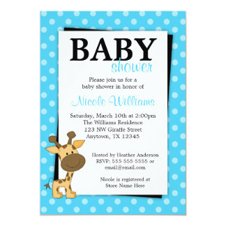 Teal BluePolka Dot Giraffe Baby Shower Invitations