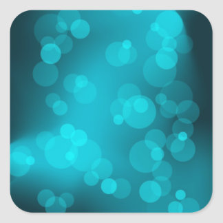 Teal Bokeh Lights Square Sticker