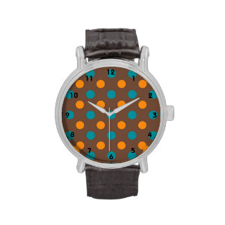 Teal, Brown, and Orange Polka Dots Wristwatches