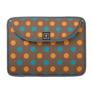 Teal, Brown, and Orange Polka Dots MacBook Pro Sleeve
