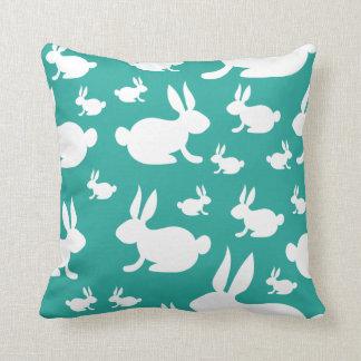 Teal Bunny Pattern Cushion