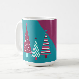 Teal Burgundy Holiday Wishes Christmas Trees Mug