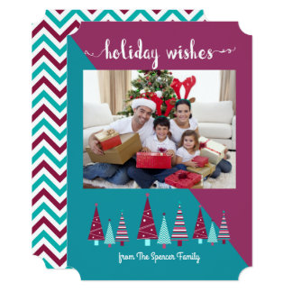 Teal Burgundy Holiday Wishes Christmas Trees Photo Card
