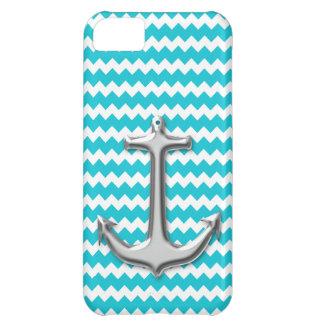 Teal Chevron Anchor iPhone 5 Case