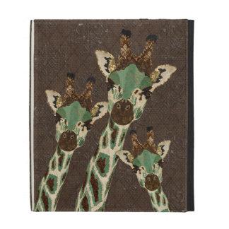 Teal Copper Giraffes Damask Caseable Case iPad Folio Cases