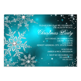 "Teal Crystal Snowflake Christmas Dinner Party 5"" X 7"" Invitation Card"