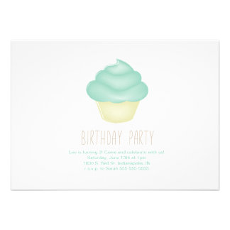 Teal Cupcake Invitaiton Announcements