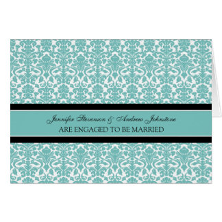 Teal Damask Engagement Announcement Card