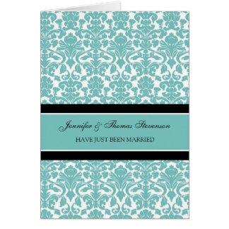 Teal Damask Just Married Announcement Card