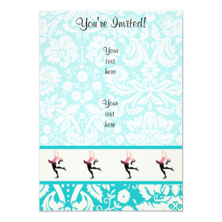 "Teal Damask Pattern Ice Skating 5"" X 7"" Invitation Card"