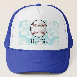 Teal Damask Pattern Softball Trucker Hat
