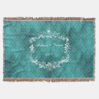 Teal Damask Personalized Wedding Throw Blanket