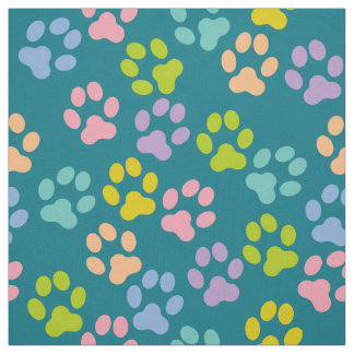 Teal Doggy Paw Prints Pattern Fabric