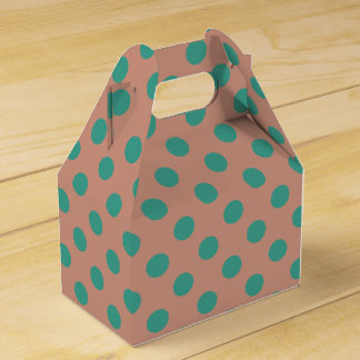 Teal & dusty rose polka dots favor box wedding favour box