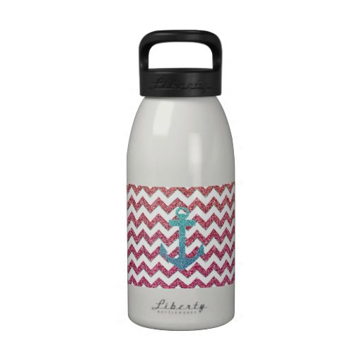 Teal Faux Glitter Anchor Girly Red Ombre Chevron Reusable Water Bottle