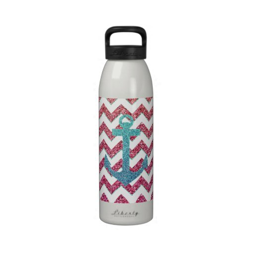 Teal Faux Glitter Anchor Girly Red Ombre Chevron Drinking Bottle