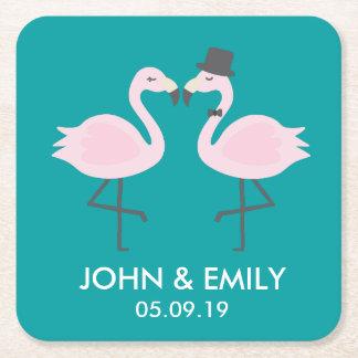 Teal Flamingo Bride & Groom Personalized Coasters