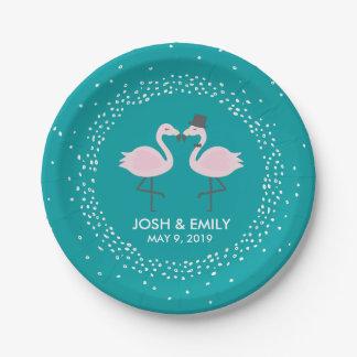 Teal Flamingo Wedding Bride & Groom Pair 7 Inch Paper Plate