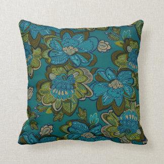 Teal Floral Pillow