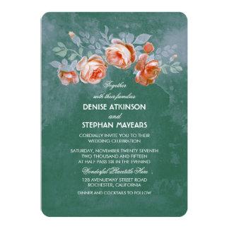 Teal Floral Vintage Wedding 5x7 Paper Invitation Card