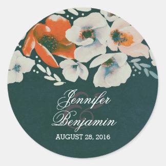 teal floral vintage wedding round sticker