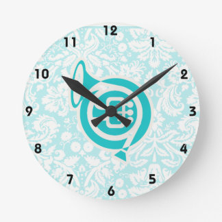 Teal French Horn Wall Clock