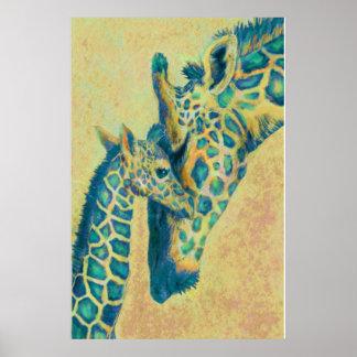 teal giraffes poster