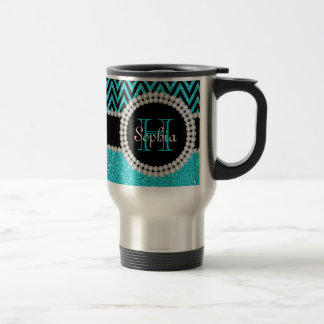 Teal Glitter Black Chevron Monogram Travel Mug