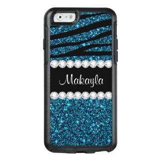 Teal Glitter Black Zebra Otterbox iPhone 6 Case